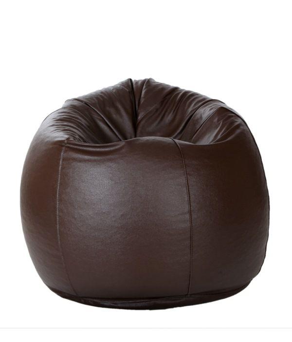 leather bean bag brown